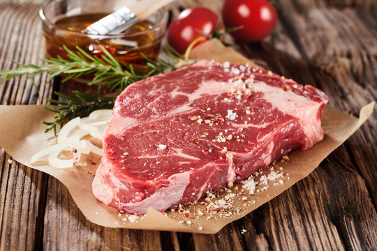 Raw piece of beef ready for cooking