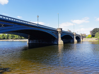 At the side of Trent Bridge, over the River Trent in Nottingham