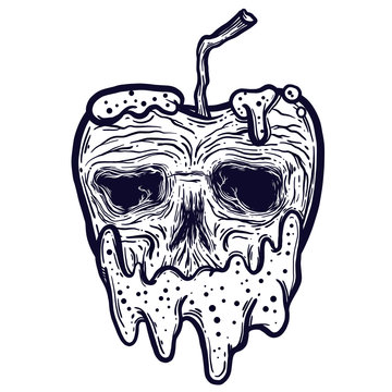 Vector illustration of an isolated line art apple icon with a voodoo skull. Poison apple.