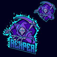Grim reaper ninja esport gaming mascot logo template