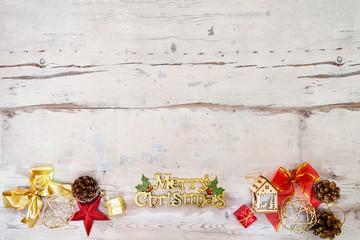 christmas decoration over lights wood background