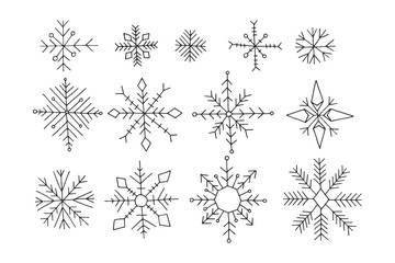 Set of winter snowflakes, doodle cartoon vector illustration