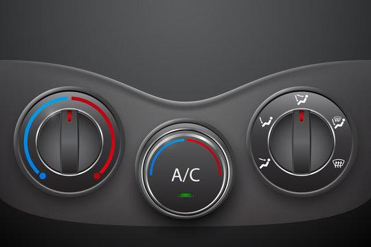 Car climate control with air condition button, vector design