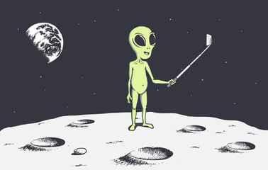alien make selfie on the Moon.Space theme.Vector illustration