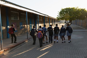 Schoolkids walking in school campus