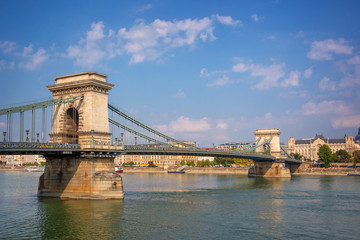 Wall Mural - Chain bridge over the Danube river in Budapest, Hungary