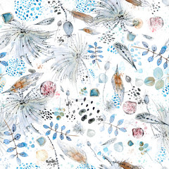 A seamless pattern painted with ink and watercolor of different colors with typical elements for the boho style, such as feathers, shells, flowers, splashes and spots and jewelery made of stones.