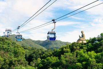 Tian Tan Buddha statue at Ngong Ping, Lantau Island, in Hong Kong China and traveled by cable car. Fotomurales