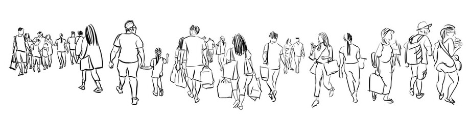 crowd group of people walking freehand ink sketch panorama view isolated on white background