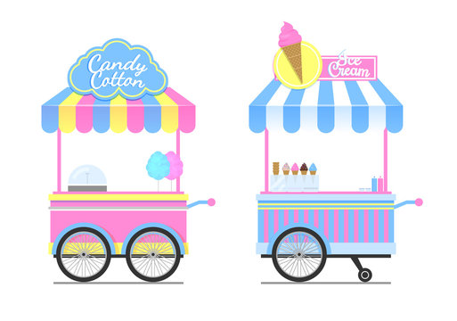 Candy Cotton and Ice Cream Wagons Vector Pattern