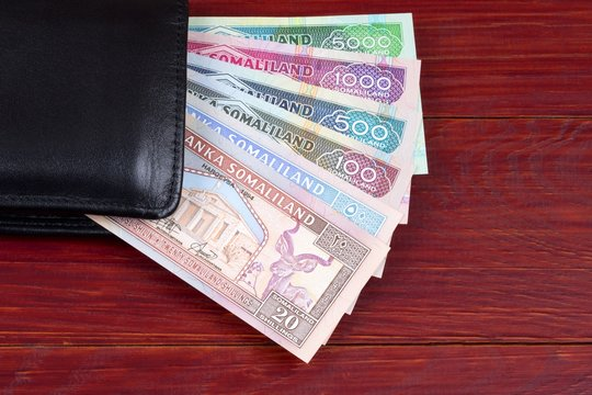 Money from Somaliland in the black wallet