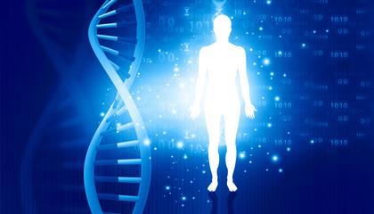 DNA molecules and men. Futuristic science. 3d illustration .