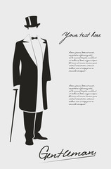 Silhouette of a gentleman in a tuxedo.
