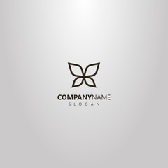black and white simple vector outline logo of line art butterfly wings