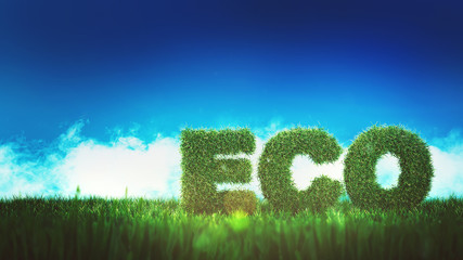 ECO sign on green field