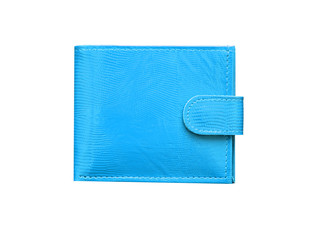 Closed Blue leather wallet isolated on white background