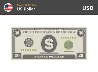 20 US Dollar bill. American money banknote. Currency vector set. Stylized drawing of bills. Flat vector illustration.