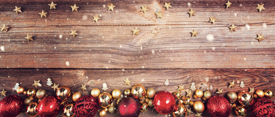 christmas background with red and golden decorations Wall mural