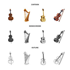 Vector illustration of music and tune symbol. Collection of music and tool stock symbol for web.