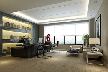3d render modern working space