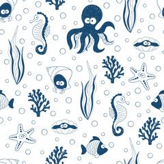 Cute sea animals seamless pattern in blue and white colors. Vector underwater background with children drawings