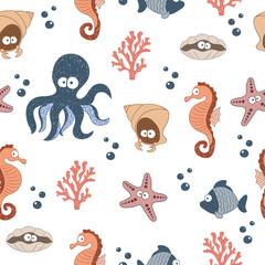 Modèle sans couture avec des animaux marins mignons. Fond enfantin de vecteur.