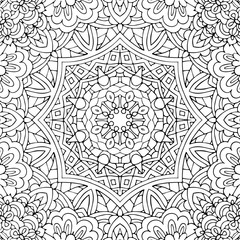 Seamless ethnic floral doodle black and white background pattern in vector. Henna paisley mandala mehndi tribal doodles design. Pattern for coloring by kids and adults.