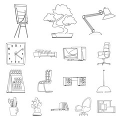 Isolated object of furniture and work icon. Set of furniture and home vector icon for stock.