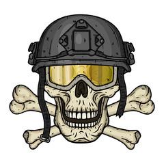 Skull in the helmet. Dead soldier. Vector illustration.