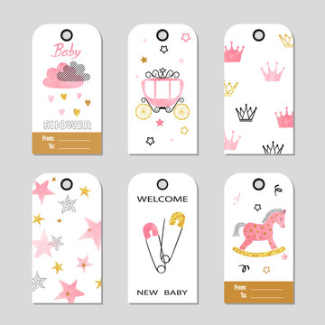 Baby Shower girl vector set in pink and golden colors. Gift tags.