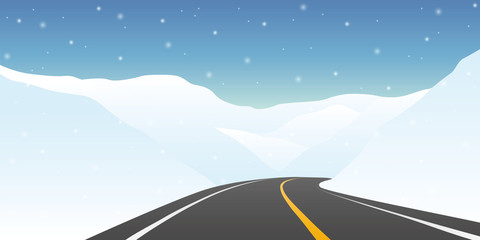 highway between the snowy mountains winter travel landscape
