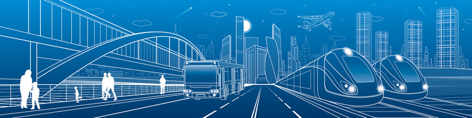 Wall Mural - Two trains travel by rail. Bus rides on city highway. Modern night town. Urban scene. People walking at street. White lines on blue background. Vector design art