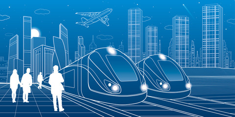 Two trains travel by rail. Modern night town. Urban scene. People walking at street. Airplane fly. White lines on blue background. Vector design art