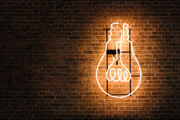 Lightbulb neon on the empty brick wall with copy space Wall mural