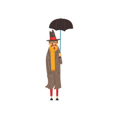 Marture man in a cloak and hand standing under umbrella vector Illustration on a white background