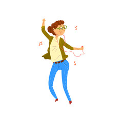 Marture woman listening to music on headphones and dancing, grandma having fun, woman leading an active lifestyle, social concept vector Illustration on a white background