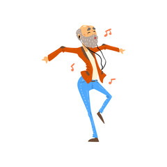 Senior man listening to music on headphones and dancing, grandpa having fun, elderly man cartoon character leading an active lifestyle, social concept vector Illustration on a white background