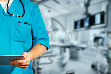 Concept of global medicine and healthcare. Unrecognizable doctor using digital tablet. Diagnostics and modern technology in medicine