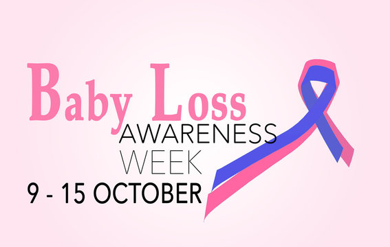 Baby loss awareness week, 9-15 october. background with ribbon
