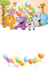 Cartoon cheerful animals, holiday background
