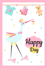 Vector Illustration. Design template card with hand lettering for baby shower. Funny stork with different childish elements. Poster for the kid's birthday with text ''Happy Day''.