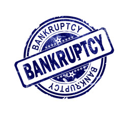 Bankruptcy word with blue round stamp