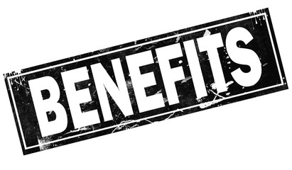 Benefits word with in black frame word