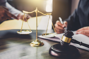 Good service cooperation, Consultation of Businessman and Male lawyer or judge counselor having team meeting with client, Law and Legal services concept