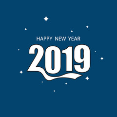 Flat Design background with party 2019. Happy New Year concept.
