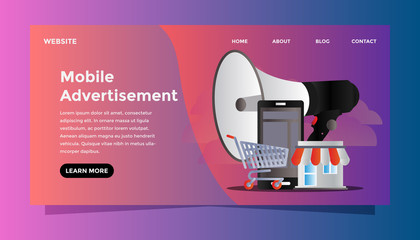 Mobile advertisement concept. Ready to use vector illustration. Suitable for background, wallpaper, landing page, web, banner, card and other creative work.