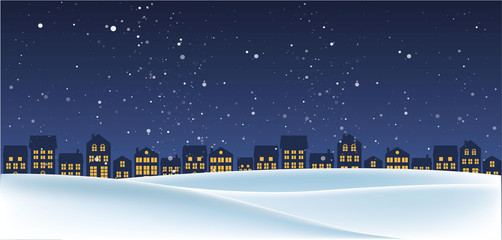 Canvas Prints Night blue Christmas night landscape with houses. Winter background. For design flyer, banner, poster, invitation