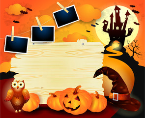 Halloween background with old sign, pumpkins, hat and photo frames