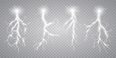 Vector illustration. Transparent light effect of electric lightning. The indomitable power of natural energy.
