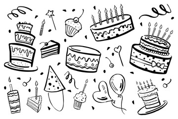 Set of stylized birthday elements. Cakes, balloons and decorations. Hand drawn cartoon ink black and white sketch illustration